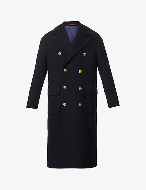 ELEVENTY: Double-breasted wool-blend coat