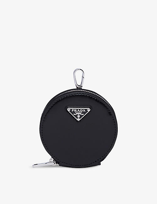 PRADA: Brushed leather round mini pouch