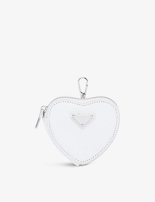 PRADA: Heart-shaped brushed leather mini pouch