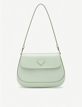 PRADA: Cleo flap-front brushed leather shoulder bag