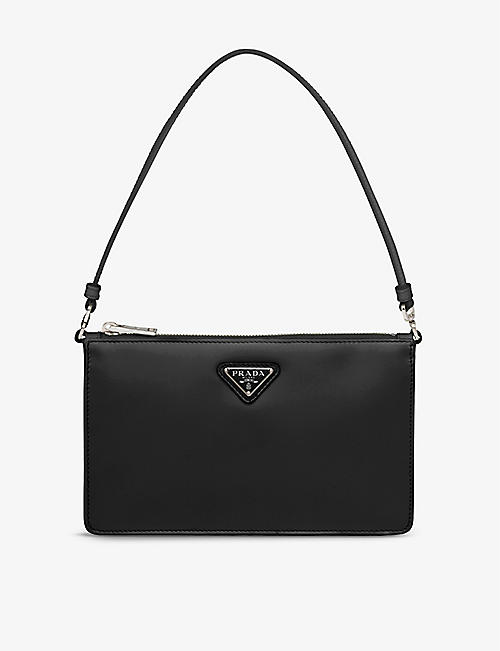PRADA: Brand-plaque mini brushed-leather shoulder bag