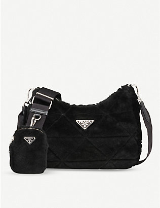 PRADA: Branded shearling shoulder bag
