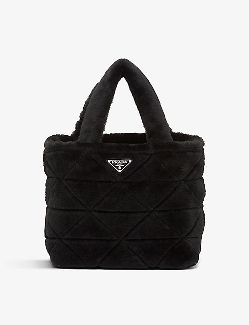 PRADA: Branded-plaque shearling pouch and tote bag