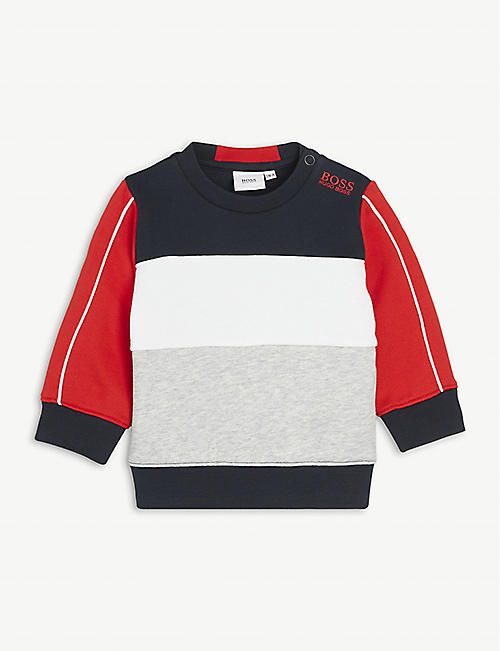 BOSS: Colour-block branded cotton-blend sweatshirt 6-36 months