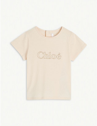 CHLOE: Logo-print cotton T-shirt 6 months-3 years