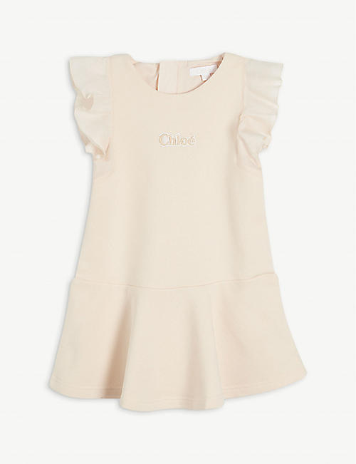 CHLOE: Logo-embossed cotton-blend dress 6 months-3 years