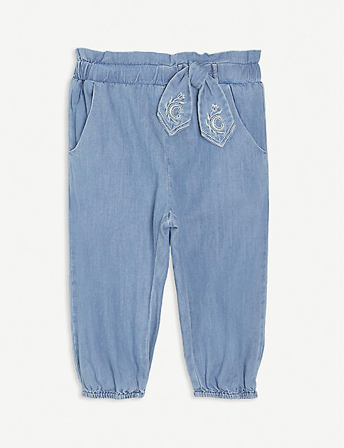 CHLOE: Embroidered-bow jeans 12-36 months