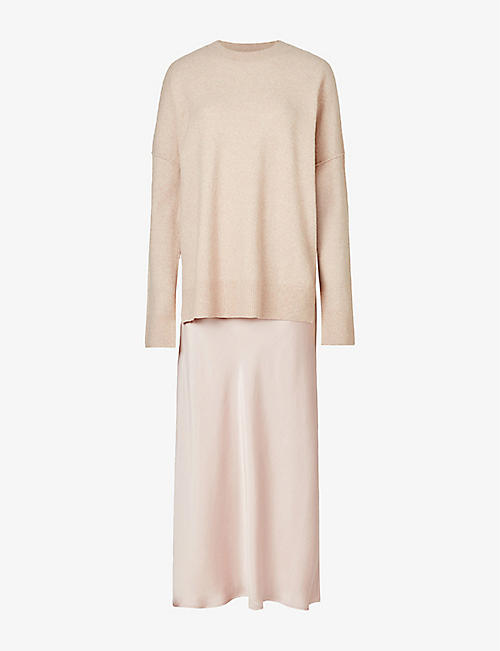 ALLSAINTS: Darla two-in-one wool-blend and satin midi dress