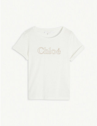 CHLOE: Logo-print cotton T-shirt 4-14 years