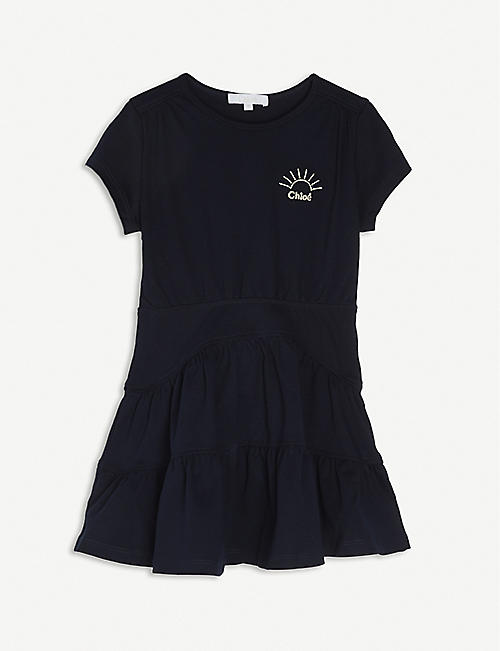 CHLOE: Logo-embroidered cotton dress 4-14 years