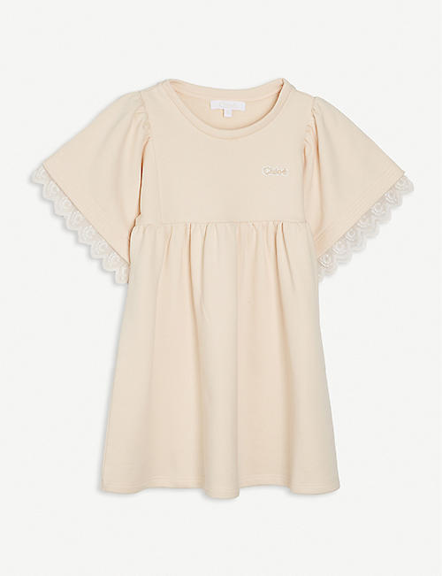 CHLOE: Milano lace-trim cotton-blend dress 4-14 years