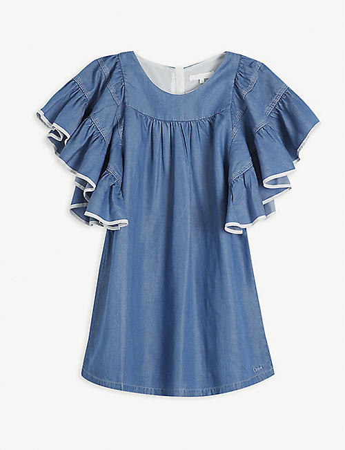 CHLOE: Ruffle-detail cotton dress 6-14 years