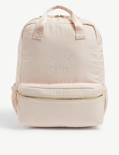 CHLOE: Kids logo-print shell backpack