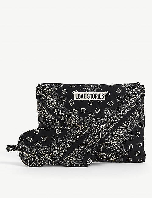LOVE STORIES: Bandana-print eye mask and toiletry bag woven sleepover set