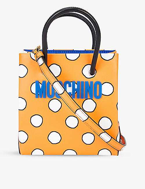 MOSCHINO: Logo-print leather shopper bag