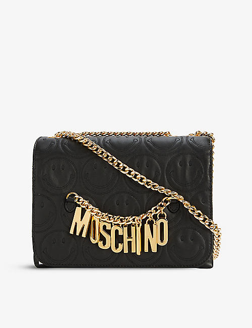 MOSCHINO: Smiley-logo leather shoulder bag