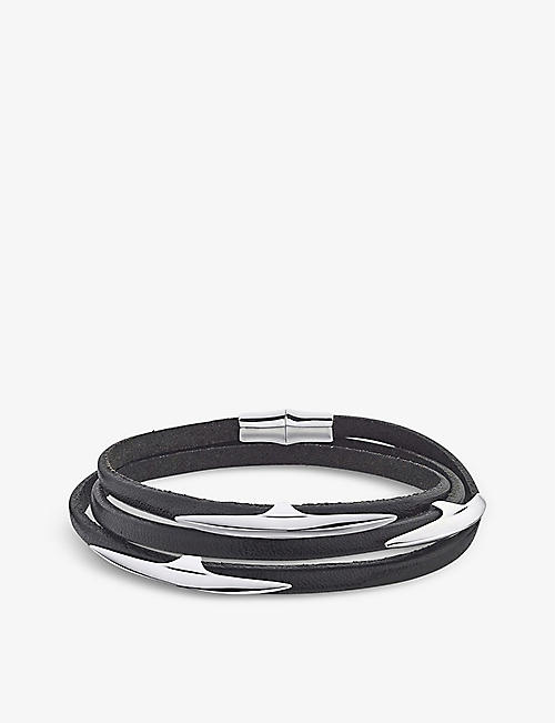 SHAUN LEANE: Arc sterling silver and leather bracelet