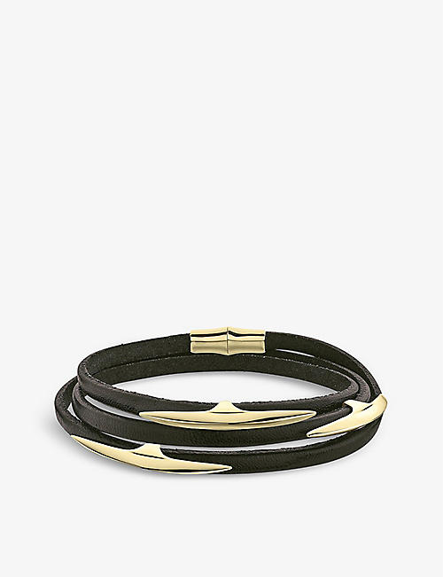 SHAUN LEANE: Arc yellow gold-plated vermeil and leather bracelet