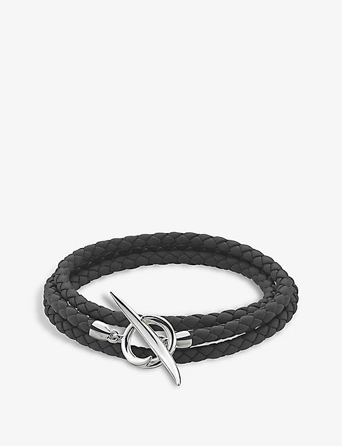 SHAUN LEANE: Quill sterling silver and leather bracelet