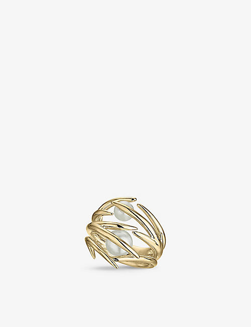 SHAUN LEANE: Cherry Blossom yellow gold-plated vermeil and pearl ring
