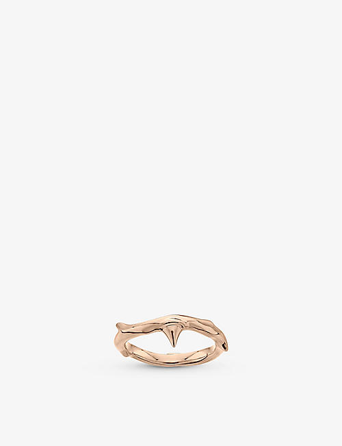 SHAUN LEANE: Rose Thorn rose gold-plated vermeil ring