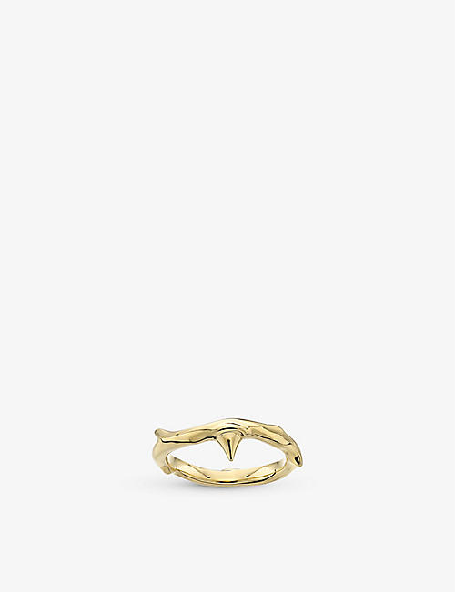 SHAUN LEANE: Rose Thorn yellow gold-plated vermeil ring