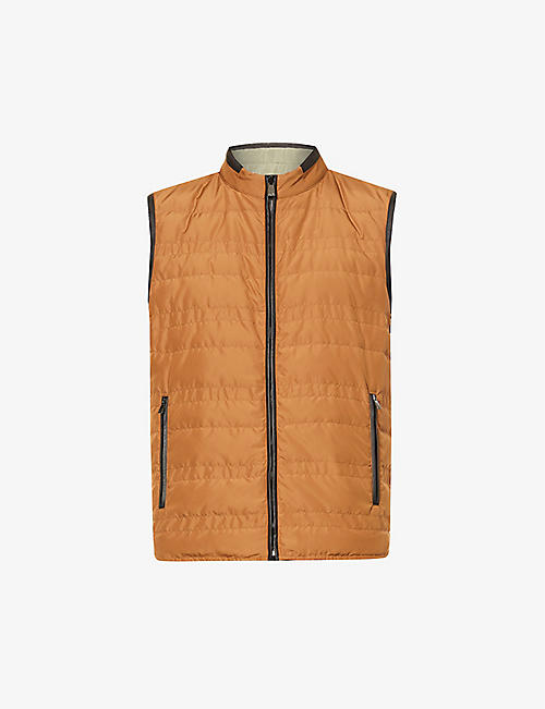 CORNELIANI: Padded quilted reversible shell gilet