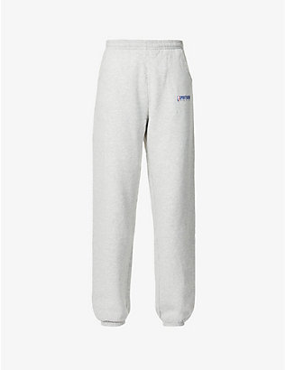 SPORTY & RICH: Team logo-print high-rise cotton jogging bottoms