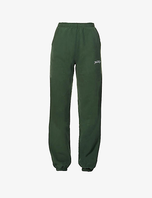 SPORTY & RICH: Rizzoli branded tapered mid-rise cotton-jersey jogging bottoms