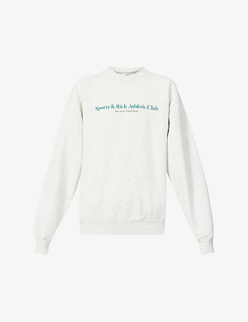 SPORTY & RICH: Athletic Club-print cotton-jersey sweatshirt