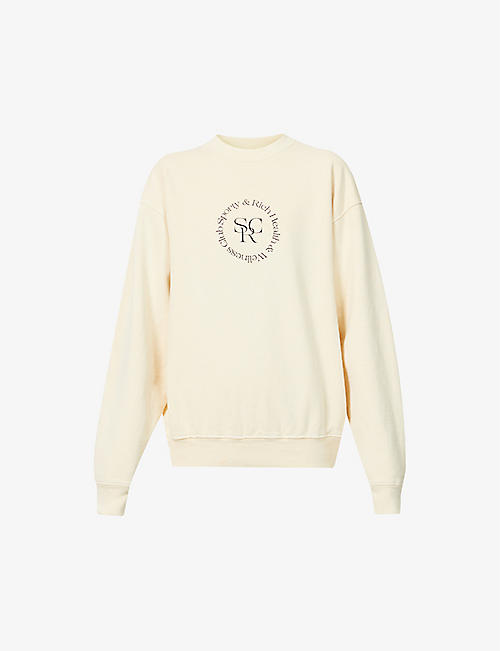 SPORTY & RICH: Health & Wellness Club-print cotton-jersey sweatshirt
