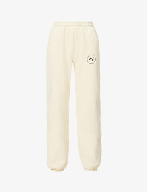 SPORTY & RICH: Health & Wellness club-print cotton-jersey jogging bottoms