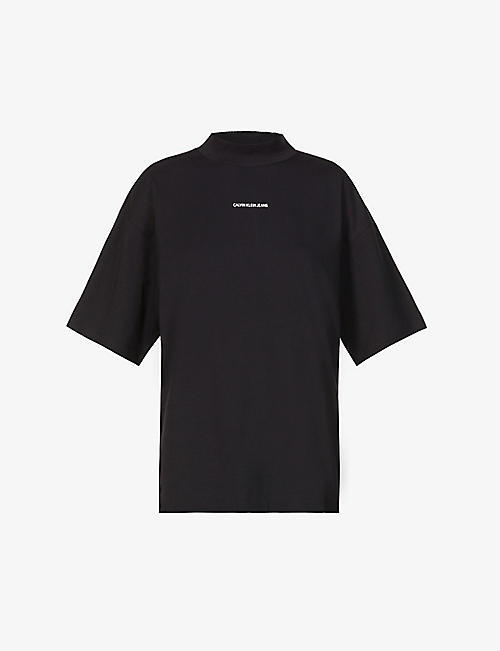 CALVIN KLEIN: Micro-logo stretch-cotton jersey T-shirt