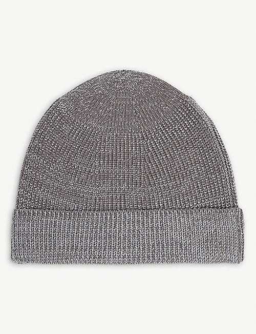 SNOW PEAK: Ribbed wool-blend beanie
