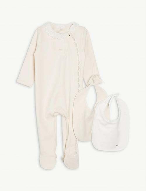 CHLOE: Logo-print cotton babygrow and bib set 1-9 months