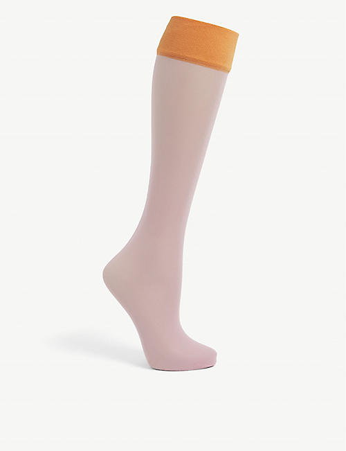 DRIES VAN NOTEN: Colour-blocked knee-high woven socks