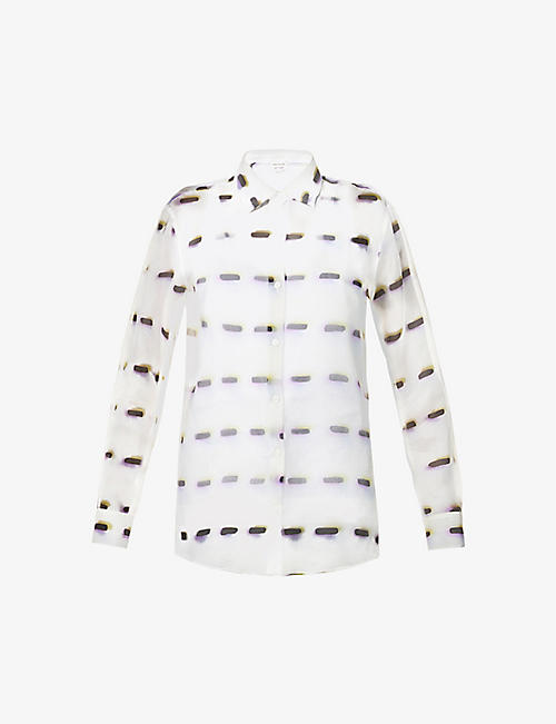 DRIES VAN NOTEN: Graphic-print sheer silk shirt