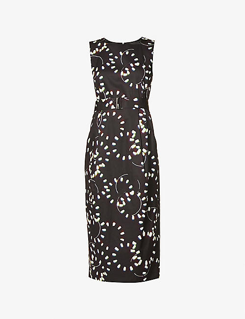 DRIES VAN NOTEN: Abstract-print cotton-poplin midi dress