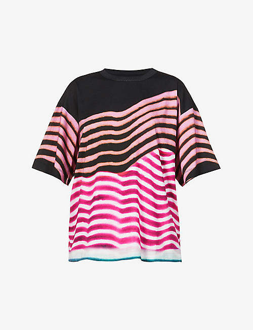 DRIES VAN NOTEN: Striped cotton-jersey T-shirt