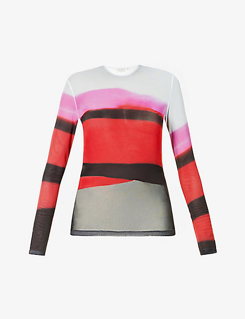 DRIES VAN NOTEN: Graphic-print long-sleeved mesh top