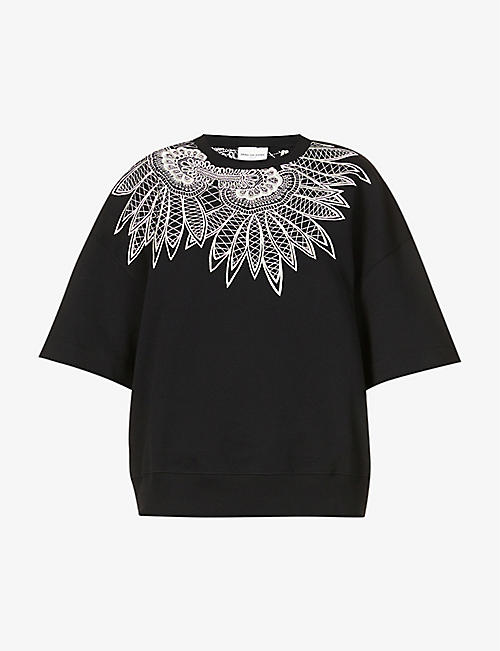 DRIES VAN NOTEN: Floral-embroidered cotton-jersey top