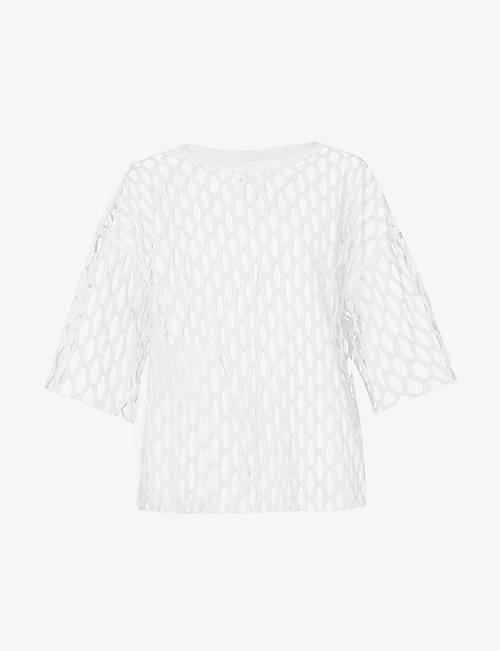 DRIES VAN NOTEN: Cut-out sheer woven top