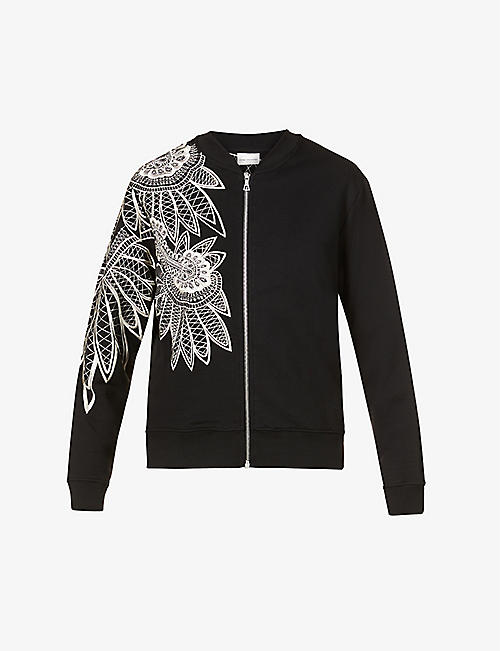 DRIES VAN NOTEN: Floral-embroidered cotton jacket