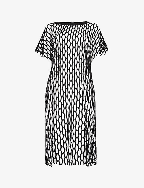 DRIES VAN NOTEN: Cut-out sheer woven midi dress