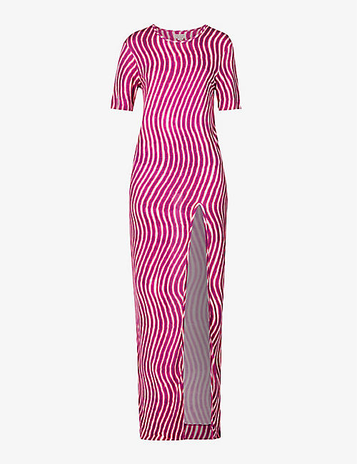 DRIES VAN NOTEN: Abstract-print jersey maxi dress