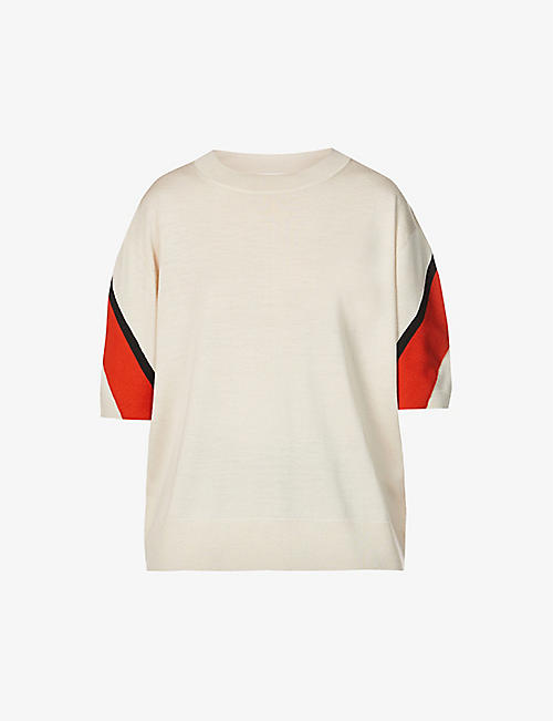 DRIES VAN NOTEN: Stripe-trimmed wool top
