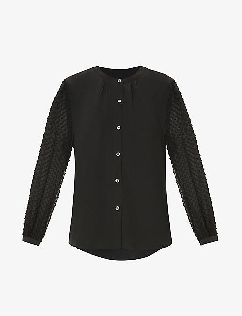 RAILS: Camilla semi-sheer sleeves silk-crepe shirt