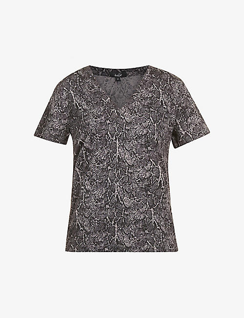 RAILS: Cara snakeskin-print cotton-blend T-shirt