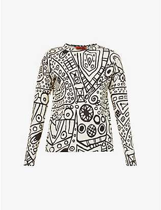 COLVILLE: Graphic-print cotton-jersey top