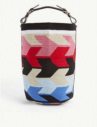 COLVILLE: Jacquard-pattern cylindrical cotton bag